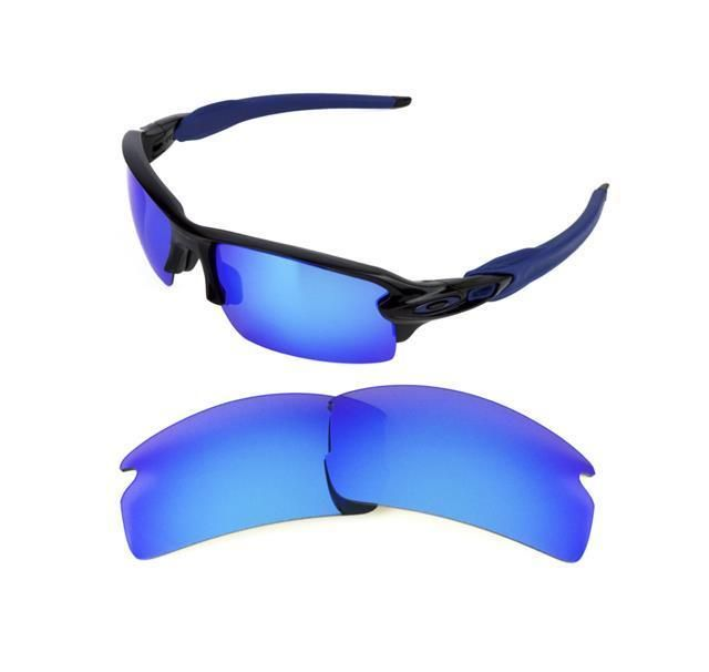 5cd679fc34 NEW POLARIZED REPLACEMENT ICE BLUE LENS FOR OAKLEY FLAK JACKET 2.0  SUNGLASSES
